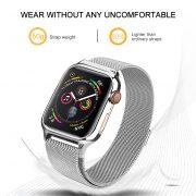 MilaneseKlokkereim Apple Watch 44mm med beskyttelsesramme - Sølv