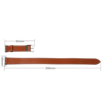 Dobbel reim watchband med kontakt for Apple Watch 42/44mm (Brun)