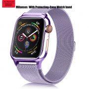 MilaneseKlokkereim Apple Watch 44mm med beskyttelsesramme - Lavendel