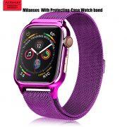 MilaneseKlokkereim Apple Watch 44mm med beskyttelsesramme - Lilla