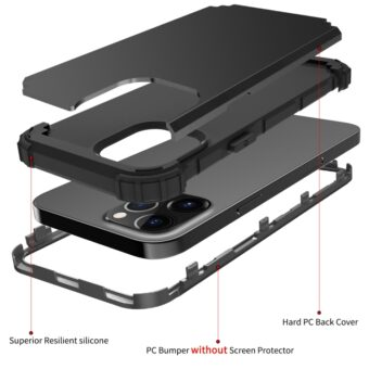 PC + silikon tredelt beskyttelsesdeksel til iPhone 12 mini (svart)